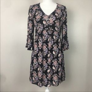 Band of Gypsies Romance Black Floral Dress NWT
